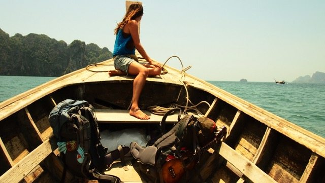 Travelling by long-tail boats in Thailand.