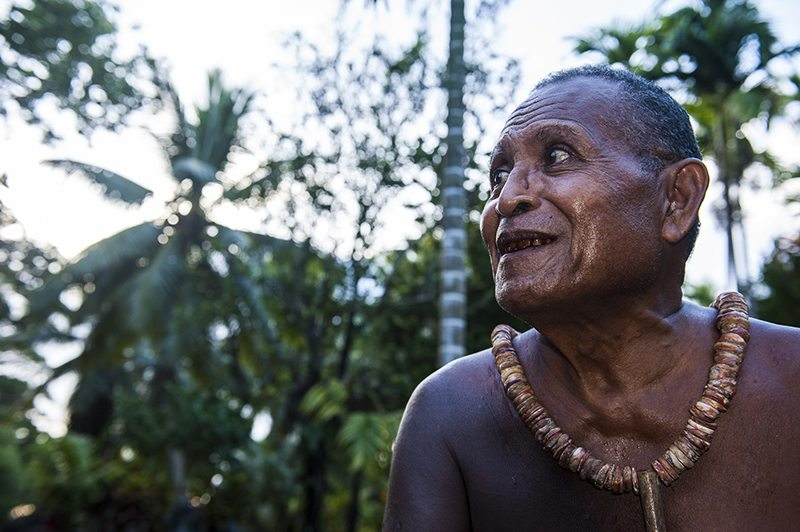 Old islander on the Island of Yap, Micronesia