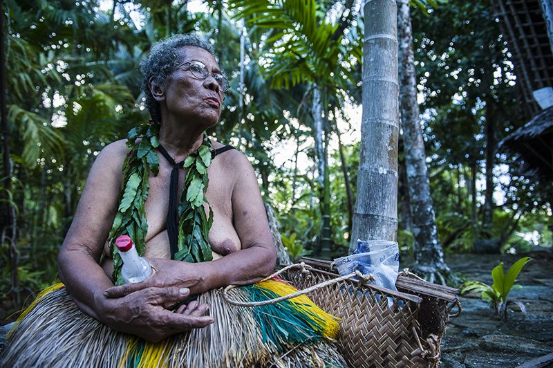 Old lady in traditional dress, Island of Yap, Micronesia