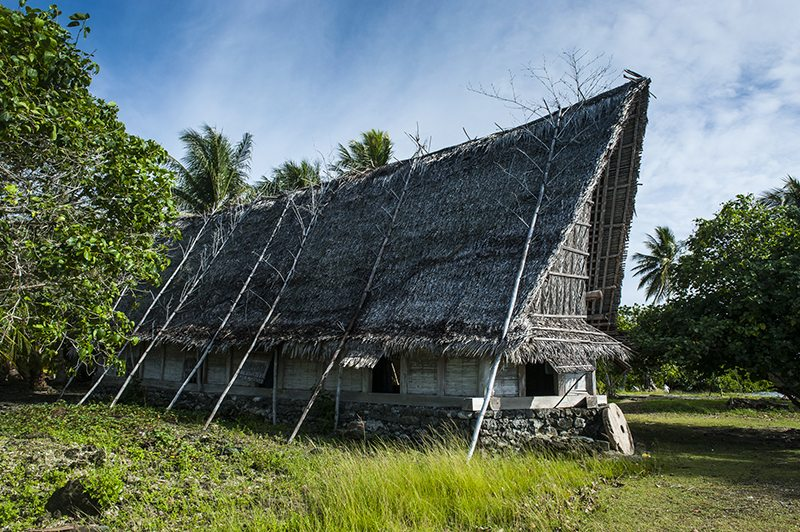 Traditional thatched roof hut, Island of Yap, Micronesia