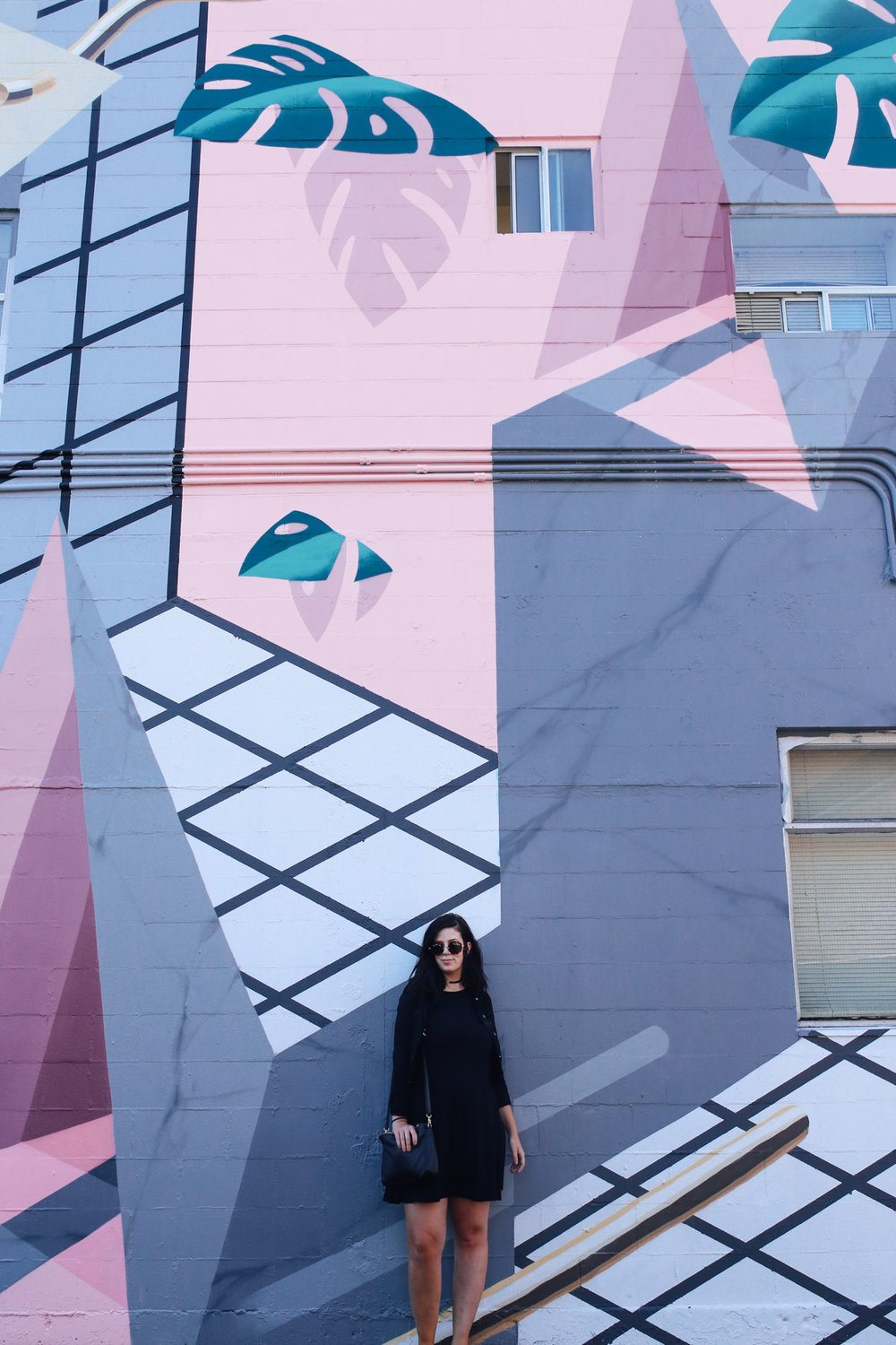 Local Wanderer's Taylor in front of artstis duo Low Bros mural