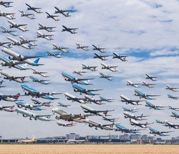 Amazing Photo Composites of Airplanes Landing or Departing from Around the World